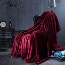 Papa&Mima Wine Red Fashion Double-sided Thick Throws Plaids Blankets Bedspread Sherpa Berber Fleece Fabric Polyester