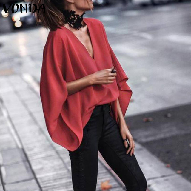 VONDA Women Sexy V Neck Long Sleeve Blouse Shirts 2019 Spring Autumn Tops Casual Loose Blusas OL Shirt Plus Size 5XL 2