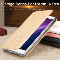 Xiaomi Redmi4 Prime Case Silicone Ultra Thin Metal Flip Leather Cover Mofi Original Xiomi Redmi 4