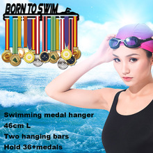Born to Swim medal hanger Sport medal holder for swimming medal hanger display rack 46cm L for 32+medals
