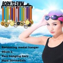 Nato a Nuotare medaglia gancio medaglia Sport supporto per il nuoto medaglia di visualizzazione gancio cremagliera 46 cm L per 32 + medaglie
