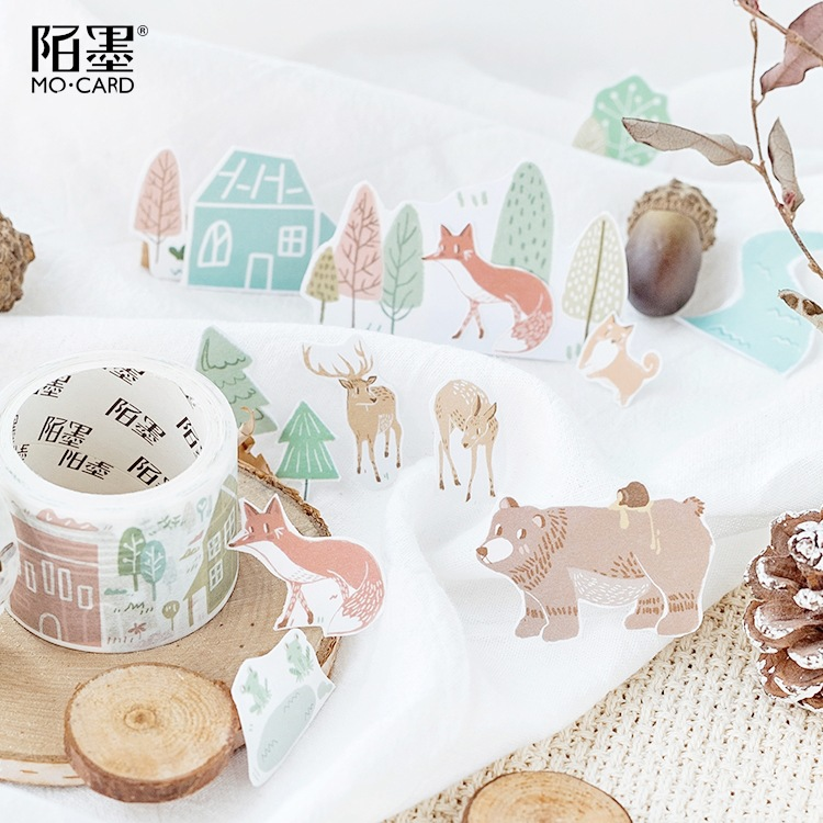 Autumn Village Forest Zoo Washi Tape Decorative Adhesive Tape Sticky Paper Tape Diy Scrapbooking Sticker Label Masking Tape