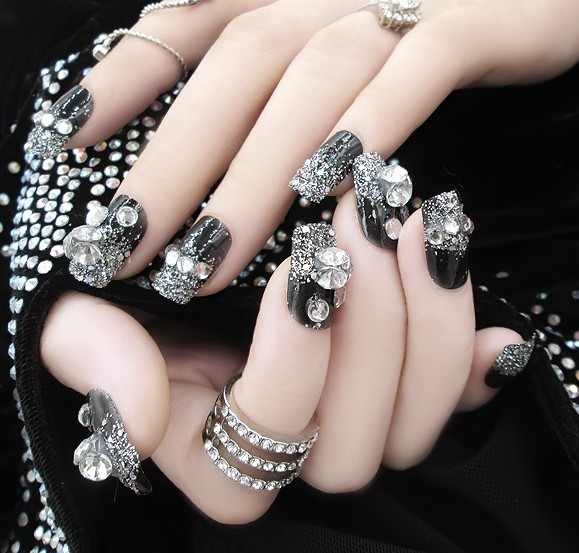E8 24pcs Pre Design Fake Nails French False Beautiful Nail Tips For Art Fashion