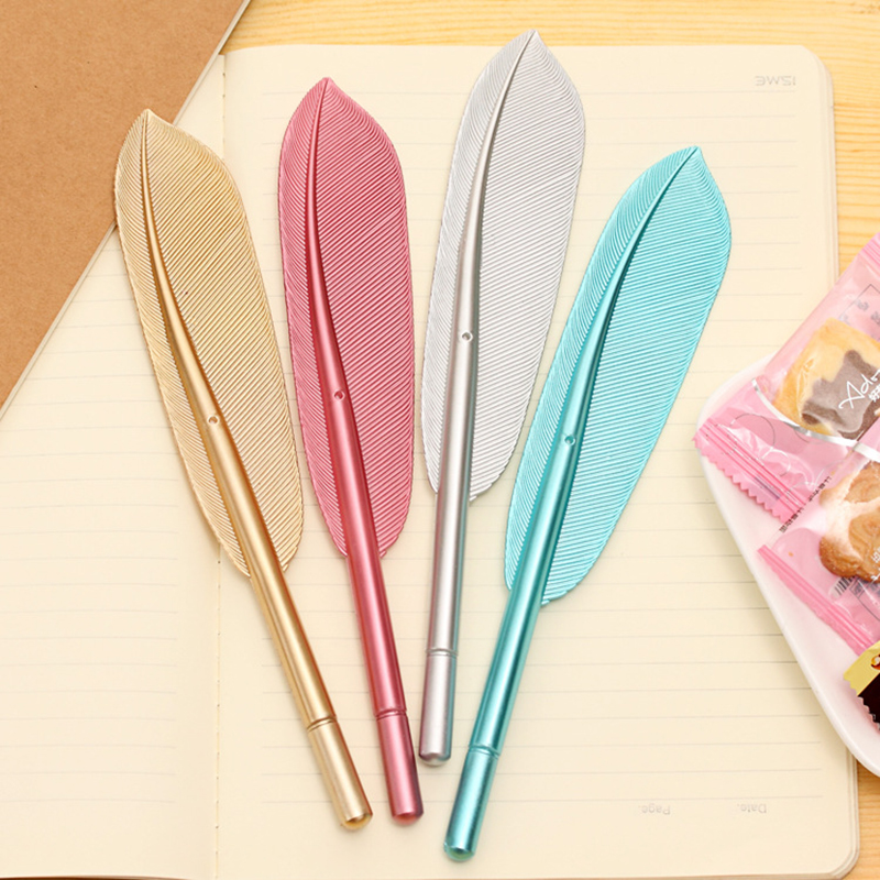 Korean cute feather metal handle stationery personality neutral pen wholesale retro creative office
