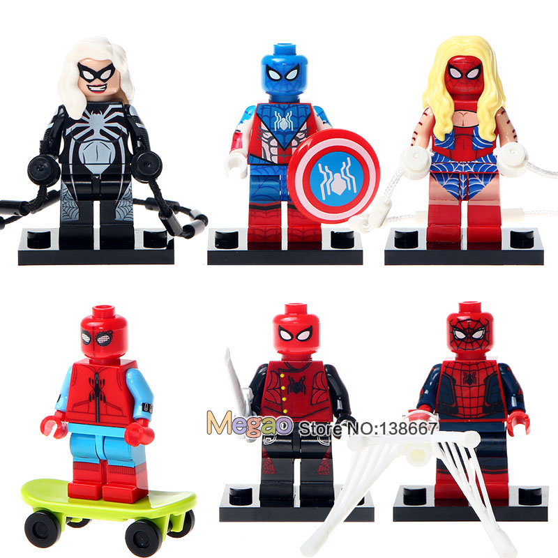 Toys & Hobbies Blocks Building Blocks 6pcs/lot 0274-0279 Spider-honecoming Spider Girl Spiderman Spider Biker Children Gifts Toys Drop Shipping High Resilience