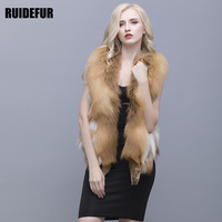 RUIDEFUR Natural Red Fox Fur Vest V Collar 50 Cm Coat Winter Warm Fashion Large Size