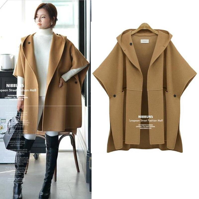 women loose hoody coat big yards dress cloak european fashion cape design plus size clothes lady outfit vestidos casual XL 4XL