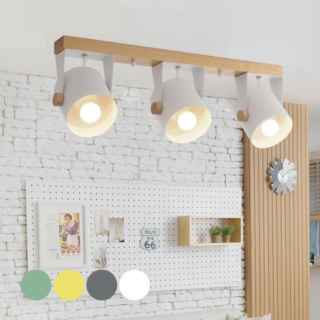 Nordique moderne minimaliste bois fer plafonnier couleur salle à manger salon allée commercial LED plafonniers éclairage