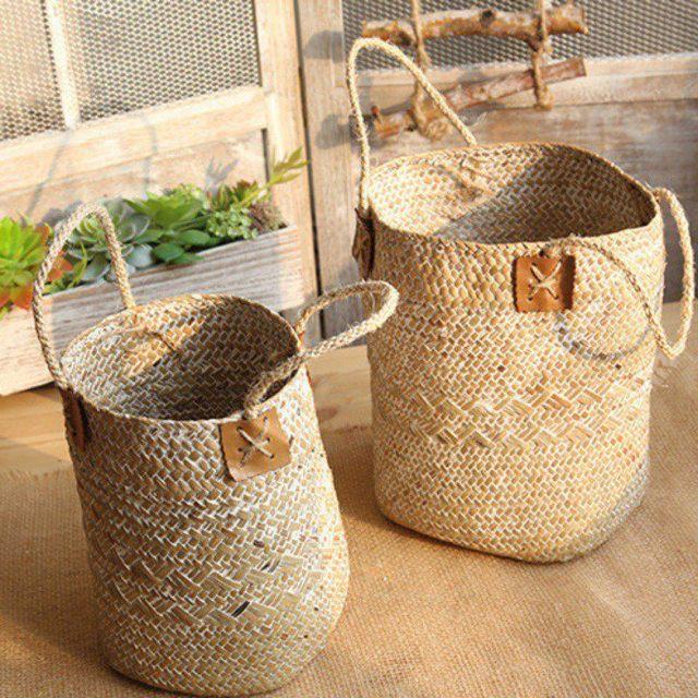 Dobrável Caixa de Armazenamento Seagrass Tecido Barriga Natural Vaso de Flores Dobrável Caixa de fruta Caixa de roupa suja cesta de tecelagem