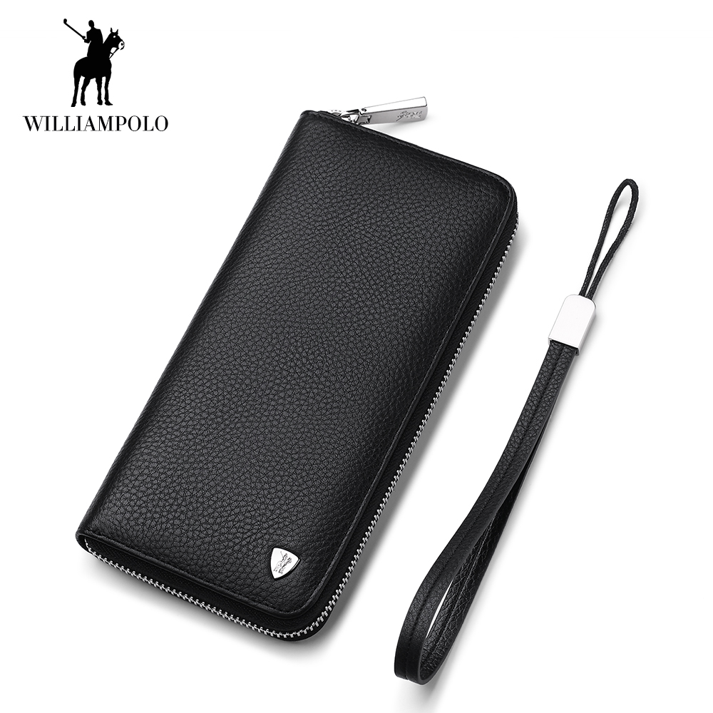 цена на WilliamPOLO Long Clutch bag leather wallet men Genuine Leather Luxury Brand Men Zipper Wallets Multi Card Holder Coin Purse 56