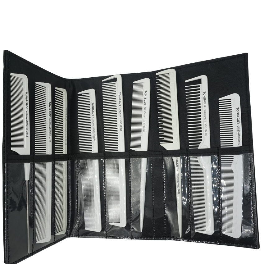 Hairstylist Kegemaran White Hair Antistatic Carbon Comb Set With Comb Bag Pro 9 Pcs Hairdresser Cut Comb TG-092 With Pocket Bag