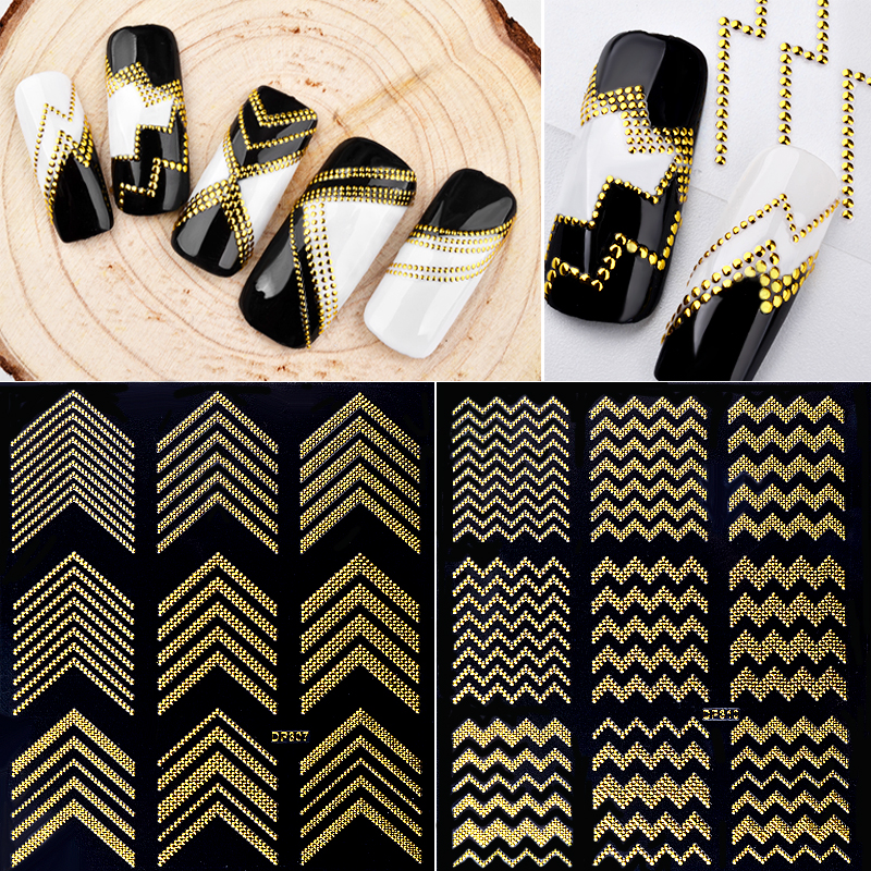 New 1 Sheet Gold Metal Nail Stickers 3d Rivet Wave Metallic Decals Self-adhesive Sticker Paper DIY Beauty Nail Art Decorations 1 sheet fading flower 3d nail art stickers lotus nail sticker adhesive nail decals nail stickers