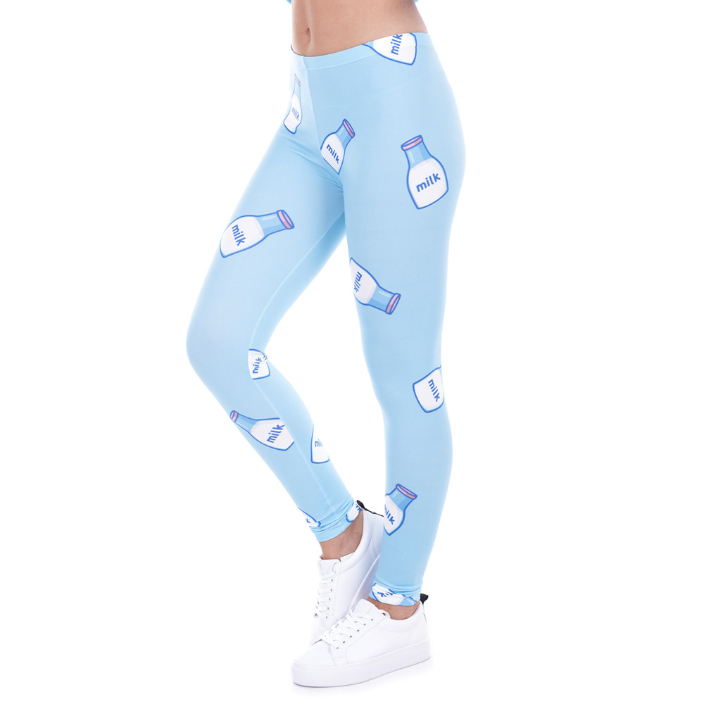 High Quality Women   Legging   Milk Printed Leggins for Women Trousers High Waist Blue Legins Woman Pants Stretch   Leggings