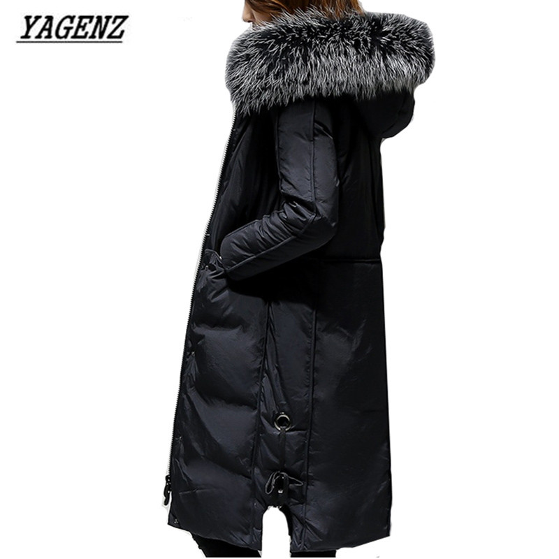 2018 Large Fur collar Women Down Jacket Hooded Coats Loose   Parkas   Lady Warm Long Overcoat Large size Casual Winter Jackets 4XL