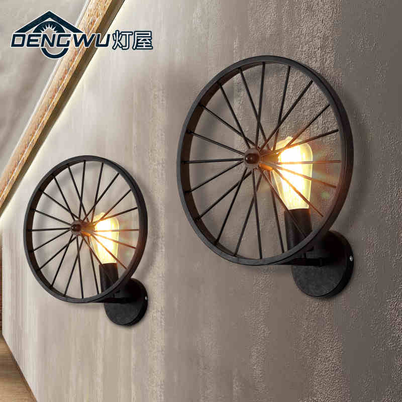 Black/Rust Color American Nordic New Retro Style Creative Iron Wheel Bedside Wall Lamp Indoor Lamp AC90-265V Free Shipping