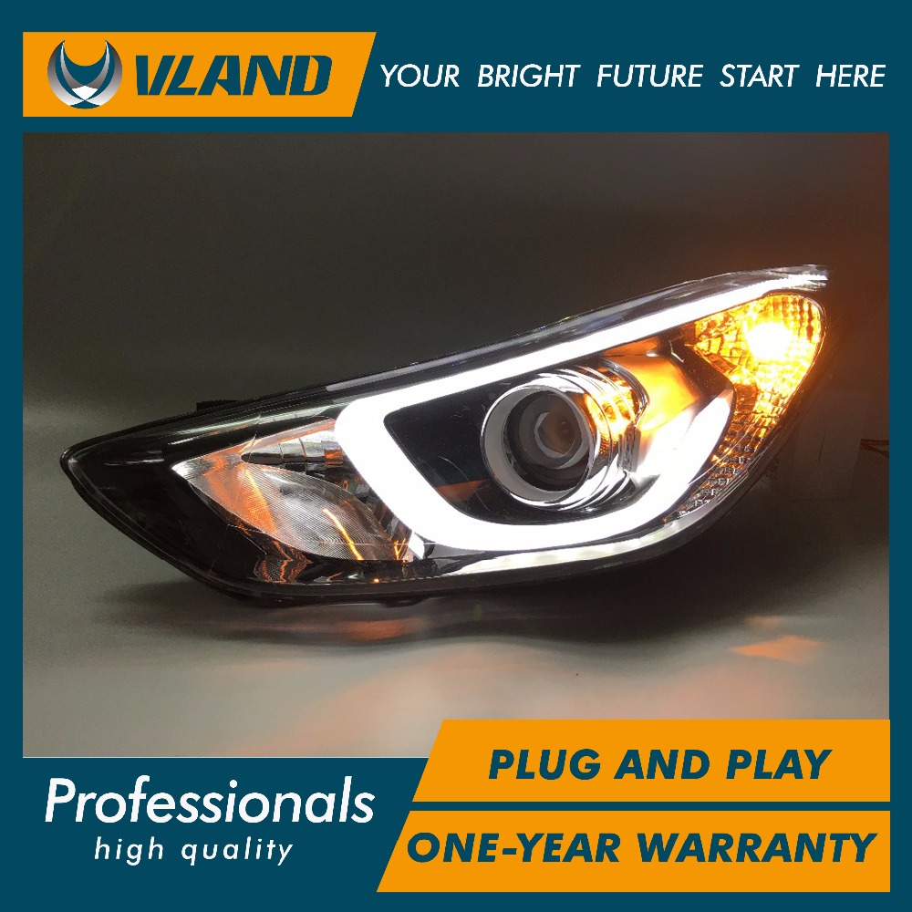 VLAND Car Head Lamp for Elantra LED Headlight Xenon Lamp with BI-xenon Lens plug and play for year 2012-2015 free shipping for vland car head lamp for great wall h6 2011 2013 led headlight hid bi xenon headlamp with led drl plug and play