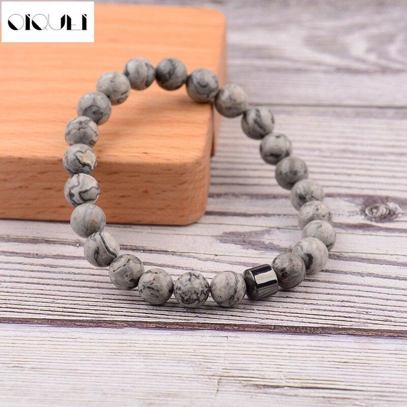 OIQUEI 2019 pulsera hombre cylindre hématite Bracelets pour hommes classique Nature pierre perles Bracelets & Bracelets Homme Yoga bijoux