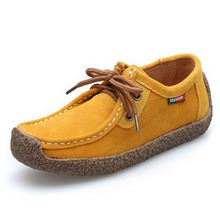 Women Flats Shoes 2016 Autumn Oxford Shoes Casual Suede Leather Ankle boots Lace Up Comfortable Platform Shoes women 6d54