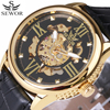 Luxury Men Watch Skeleton Clock Male Leather Strap Steampunk Fashion Casual Automatic Mechanical Watches 2017 Relogio