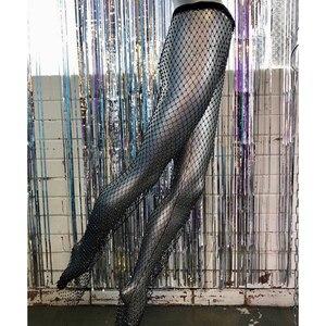 Image 5 - Pantalones tipo túnica con diamantes de cristal relucientes para mujer, Túnica Sexy, largos, de malla, ahuecados, transparentes, para fiesta y Club