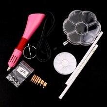Rapid Heating Up Hotfix Wand Pink Hot Fix Rhinestone Applicator&2pcs Pencil&7 Cells&Round Triangle Box DIY Tools Set