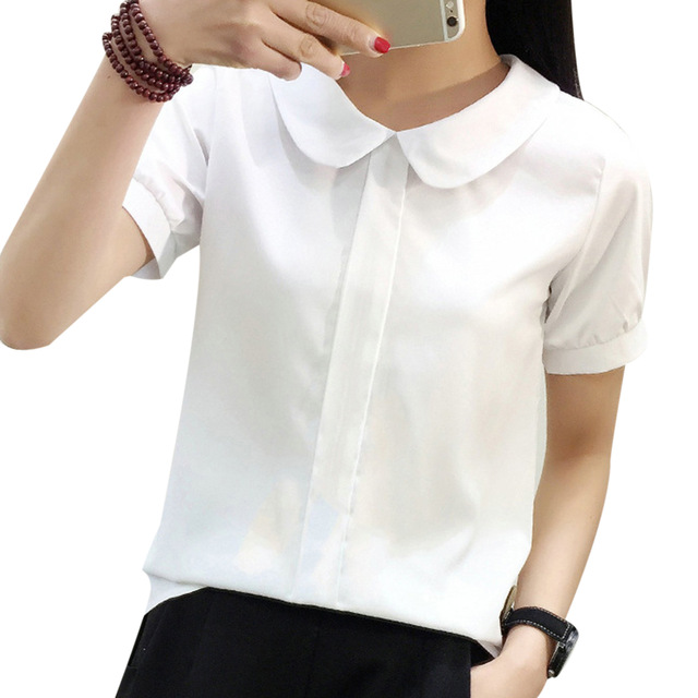 49fff82e56910 2018 Fashion Peter Pan Collar Women Blouse Shirts Short Sleeve Blusas  Chiffon White Women Office Blouses Ladies OL Tops Female