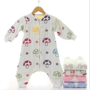 Image 2 - Muslin Baby Sleeping Bag Winter 6 Layers Cotton Kids Long Sleeve Sleepware 0 5 years Children Cotton Sleepsack Baby Sleepwear