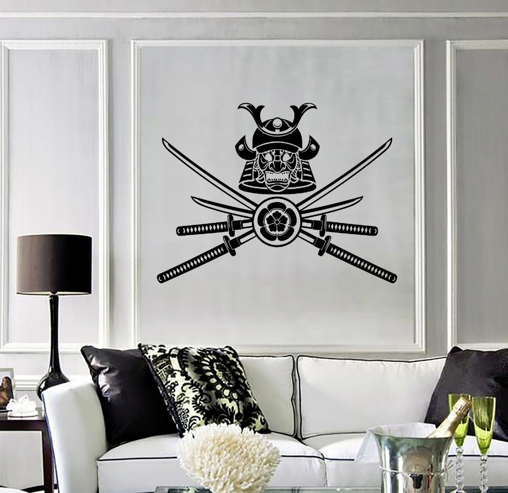 Removable Home Vinyl Decal Samurai Warrior Japanese Mask Wall ...