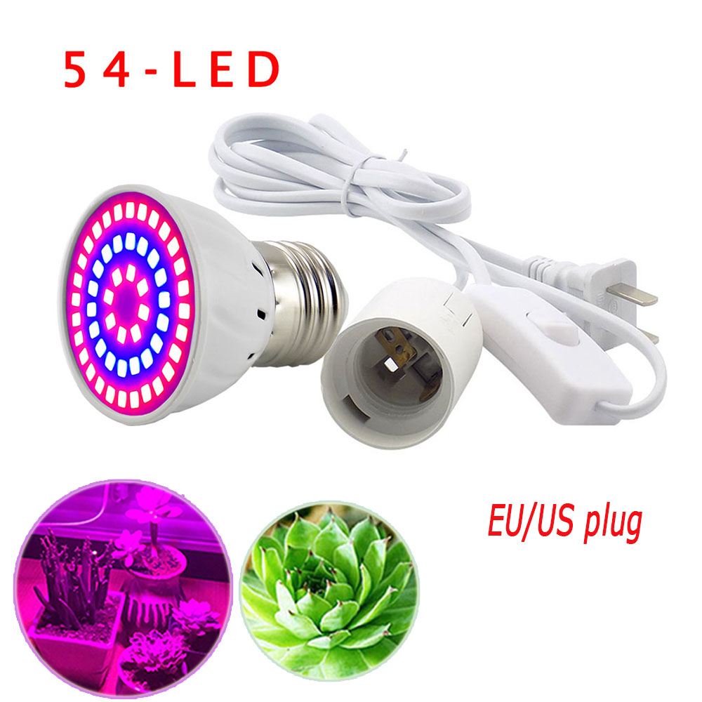 54 LED Grow Light Bulbs Plant Growing lights Lamp for Plants with E27 AC Power Cable Set for Hydroponics Seeds Flower Vegetable бейсболка goorin brothers арт 101 3049 серый page 1