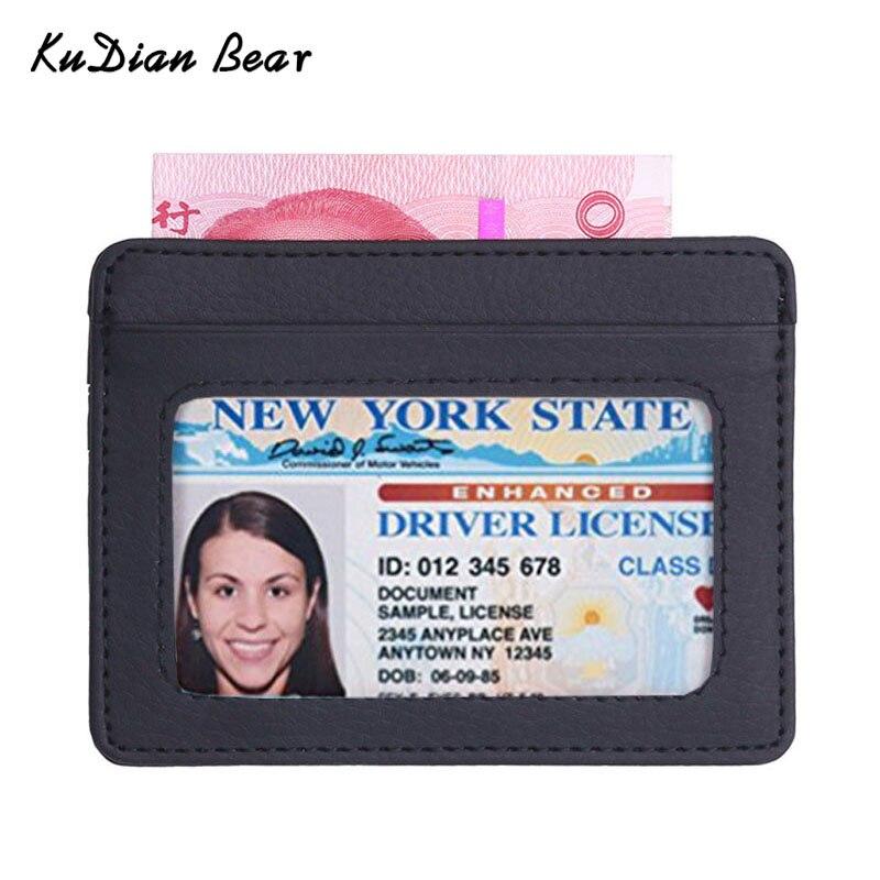 KUDIAN BEAR Leather Slim Men Credit Card Holder Brand Designer Card Wallets ID Card Holder Purses Tarjetero Hombre BIH062 PM49