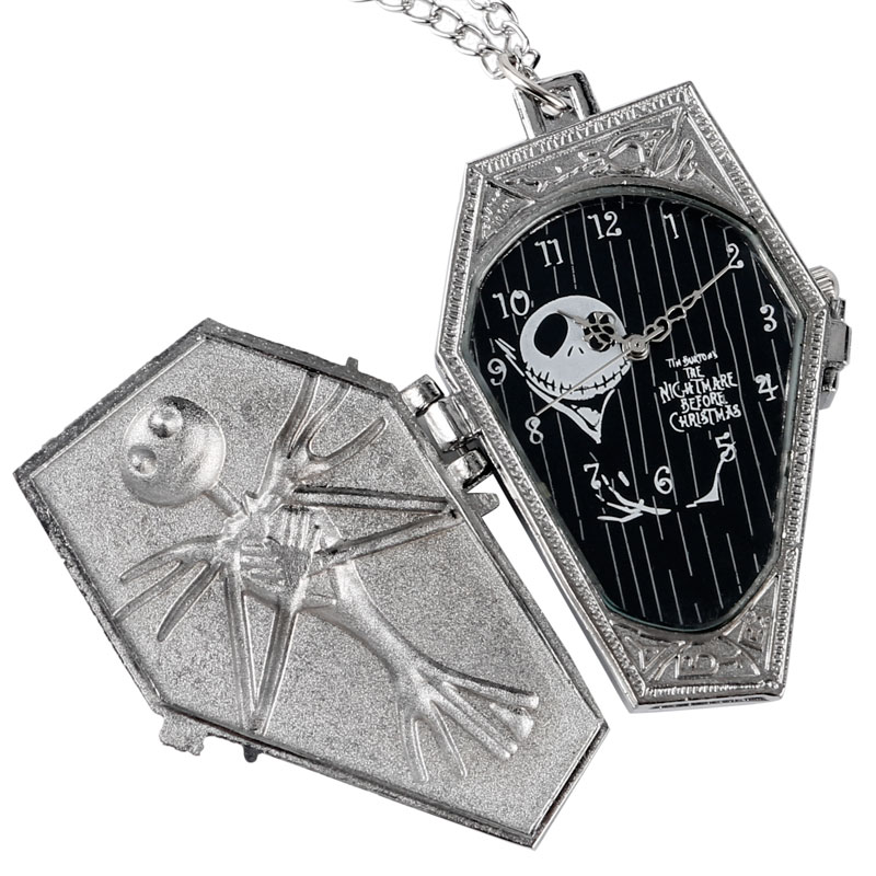 2017 Hot Selling Silver The Nightmare Before Christmas Skull Steampunk Quartz Pocket Watch Men Women Pendant With Necklace цена и фото