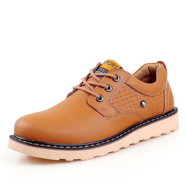 Coser a mano Primavera Otoño Botines de Cuero Genuino Al Aire Libre Botas Los Hombres de Moda de Alta calidad Ata Para Arriba Botas Cortas Bajos Masculina Zapatos Social