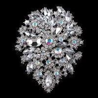 Wedding Bridal Fine Jewelry Fashion New Luxury Large Crsytal Rhinestone Flower Brooches For Women