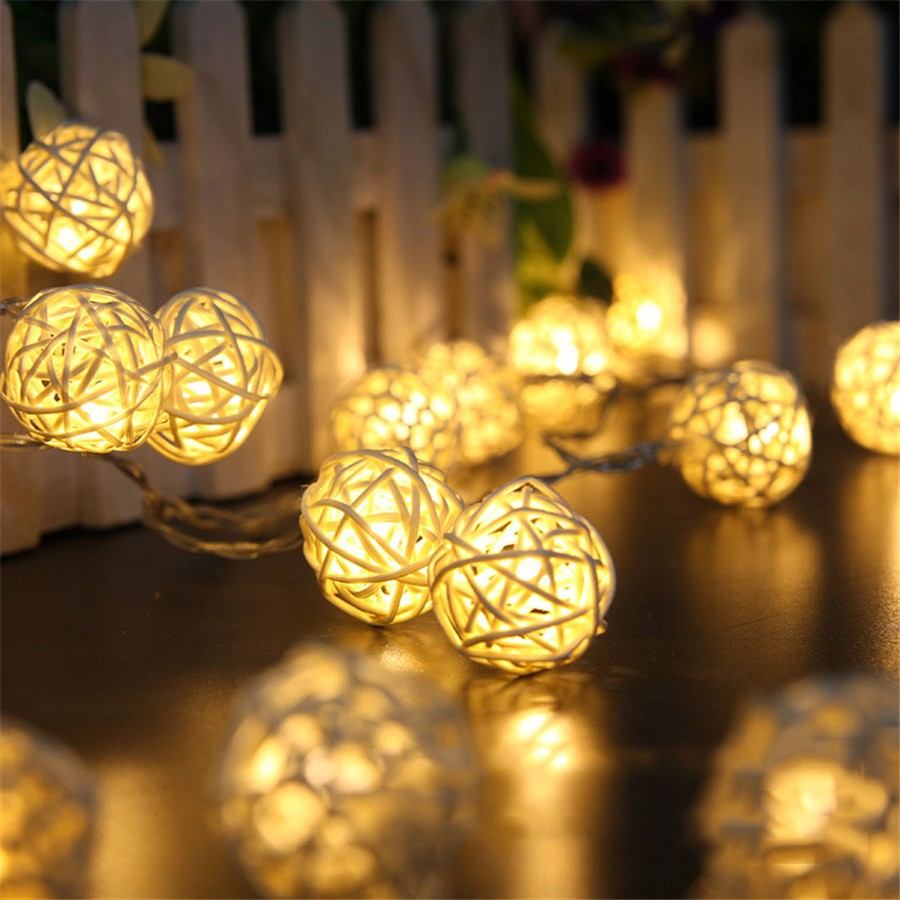 4.8M 20 LEDs Solar Garland LED Rattan Ball Fairy Lights Lampion String Lighting Christmas Wedding Luces Decoration #