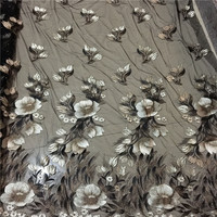 2019 Hot Sale Tissus Free Shipping 18 Drill Screen Plant Flower Embroidery Lace Pattern Perspective Dress Window Gauze Fabrics
