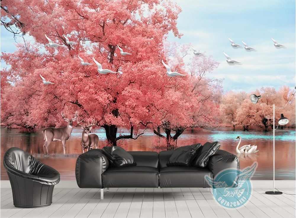 Rose Extra grand mur peintures murales grand arbre animal cygne lac 3d papier peint peintures murales 3d paysage TV toile de fond Non-tissé moderne papier peint