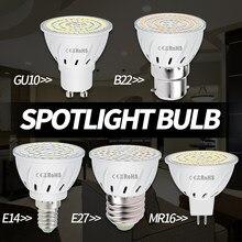 220V lampa LED E27 kukurydza oświetlenie E14 ampułka Led GU10 światło punktowe 2835 SMD 48 60 80 reflektory LED żarówka MR16 Focos żarówka do sufitu
