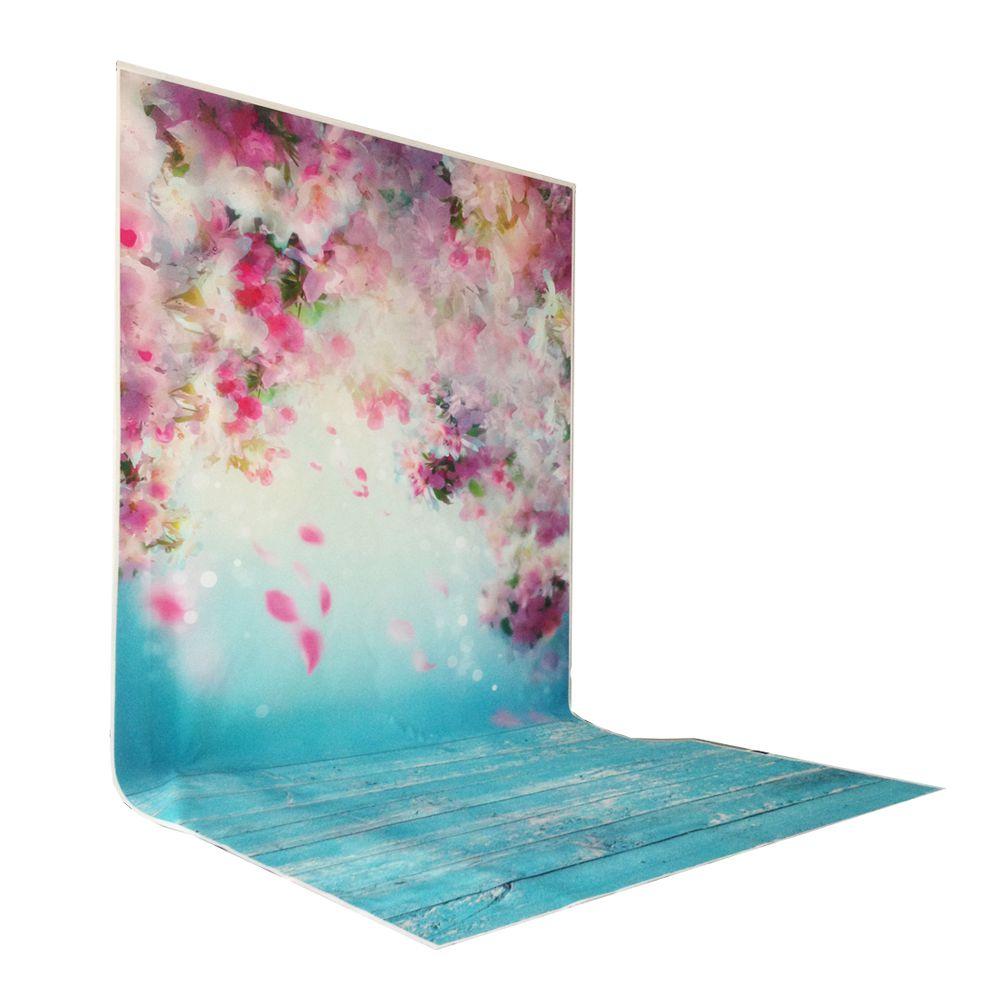 цена на petal peach blossom printed baby photo backdrops Art fabric newborn wood backdrops for studio photography background 5x5ft