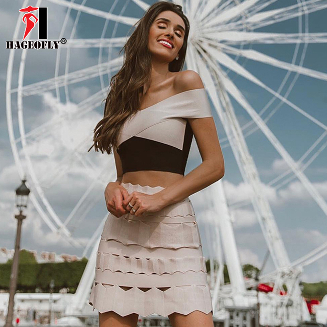 c4fb9712f6a HAGEOFLY New Two Piece Set Bandage Dress Sexy Off Shoulder Short Sleeve Mini  Length Hollow Out Party Runway Women s Suits