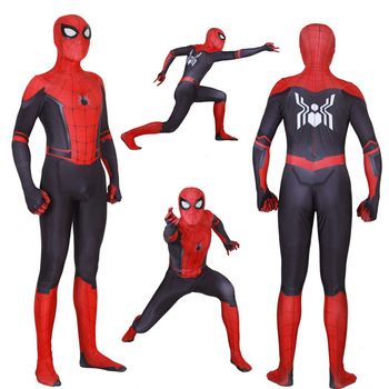 VIP FASION Adult Kid 3D Spider Far From Home Peter Parker Cosplay Costume With Mask Superhero Jumpsuits Men Unisex