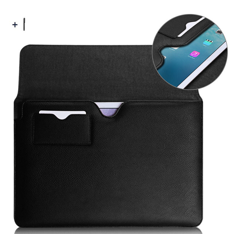 For iPad Pro 12.9 inch 2017 Tablet Leather Case For iPad Pro 12.9 inch 2017 Protective Pouch Bag Cover Sleeve +Stylus