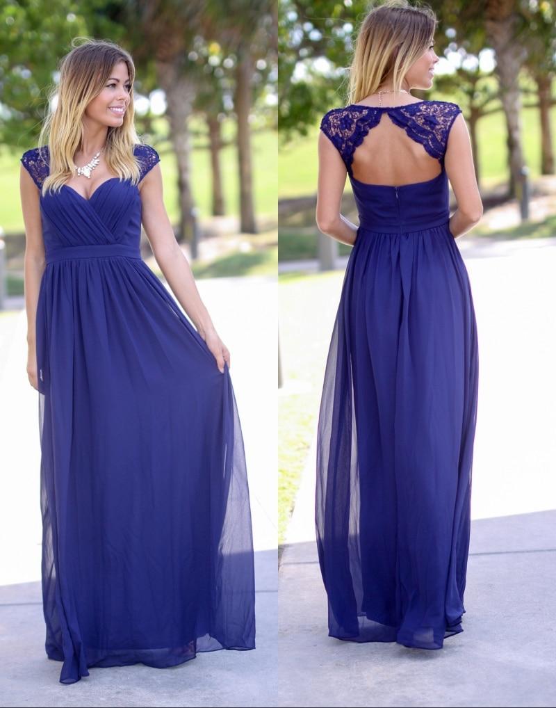 Una línea de playa rústica vestidos de dama largo 2017 royal blue ...