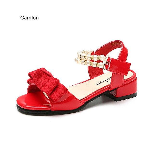 7cf6ec2431803 Gamlon Filles Sandales Faible Talon 2017 Nouveau D été de Mode Coréenne Petite  Fille Princesse
