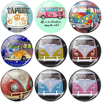 TAFREE Hippe Peace Van Bus Round Shape DIY Glass Cabohcon 25mm Art Picture Demo Flat Back Making Finding For Bracelets Keychains image