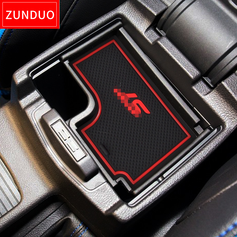 ZUNDUO Gate slot pad For For FORD 2015 Focus ST Accessories3D Rubber Car Mat  red white black Interior Door Pad Cup Holders
