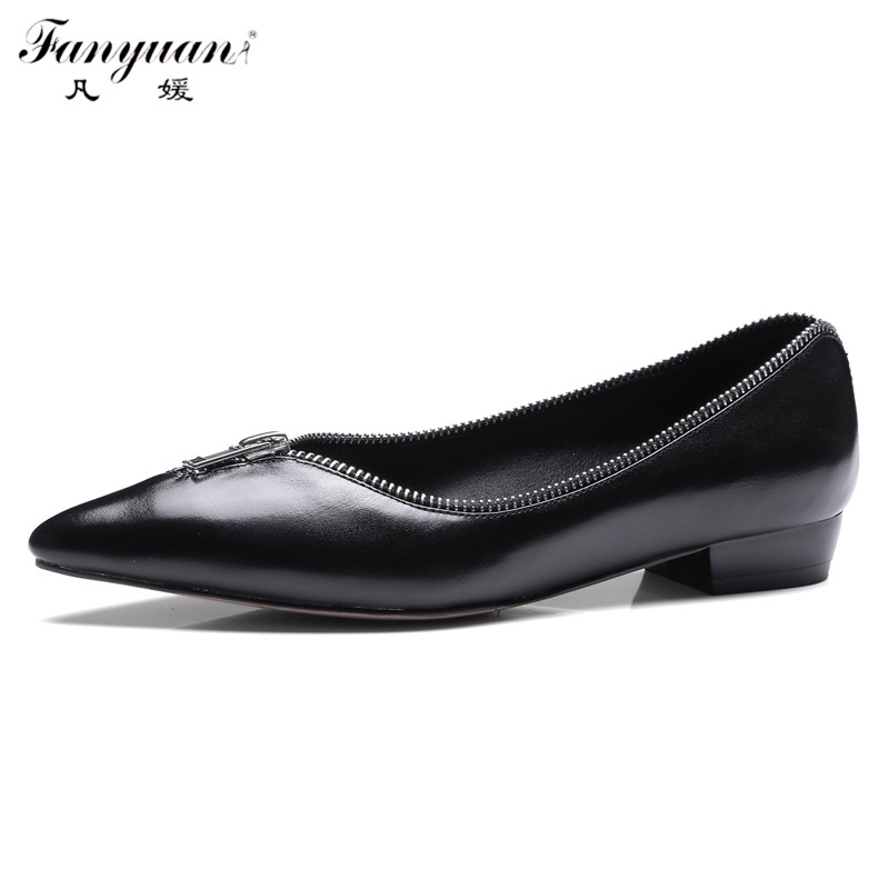 ФОТО 2017 Fanyuan Spring Women Flats  Genuine Leather Unique Design Zipper Mouth Slip-on Shoes Manual High Quality Flat