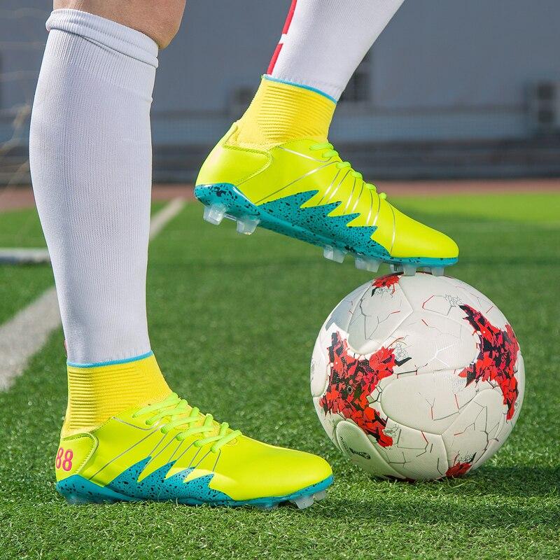 Haute Tops Professionnel Football Bottes Cheville de Football Crampons Bottes Longues Pointes Hommes de Football Chaussures Sneakers Intérieur Gazon Futsal