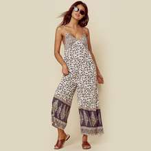 ba2b3c25e6787 Jastie Leopard Gypsy Print Women Jumpsuit Scooped Back Adjustable Straps  Sexy Romper 2019 Summer Casual Wide