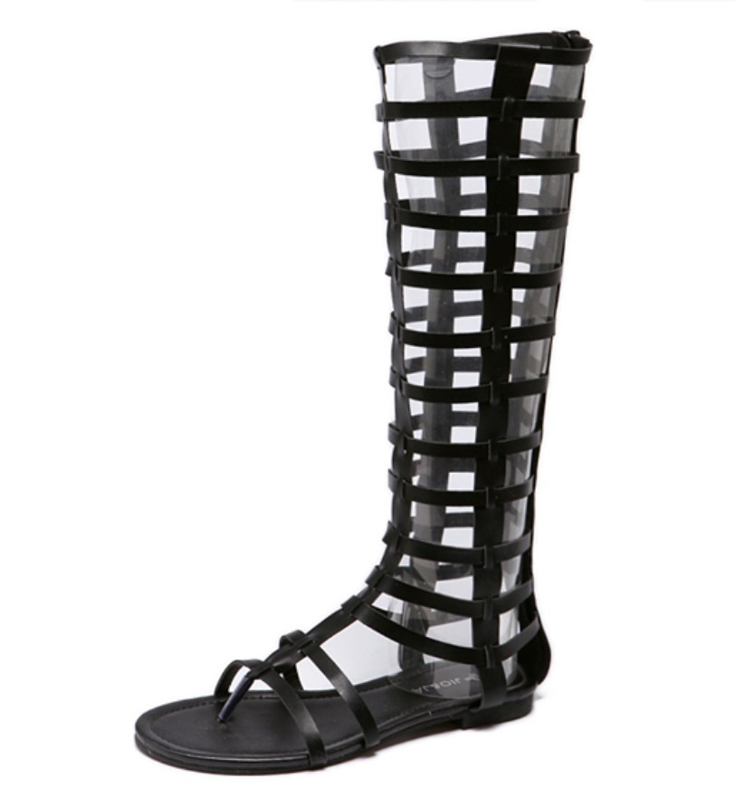 Khaki Summer Rome Gladiator Sandals Thong Cut Out Caged Knee High Boots Flat Heel Shoes Strappy Leather Brazalian