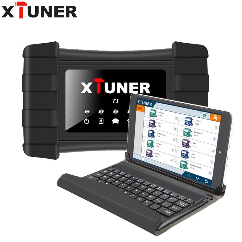 XTUNER T1 V9.3 HD camiones pesados Auto herramienta de diagnóstico con Airbag ABS DPF EGR restablecer + 8 WIN10 Tablet OBD 2 autoscaner herramienta